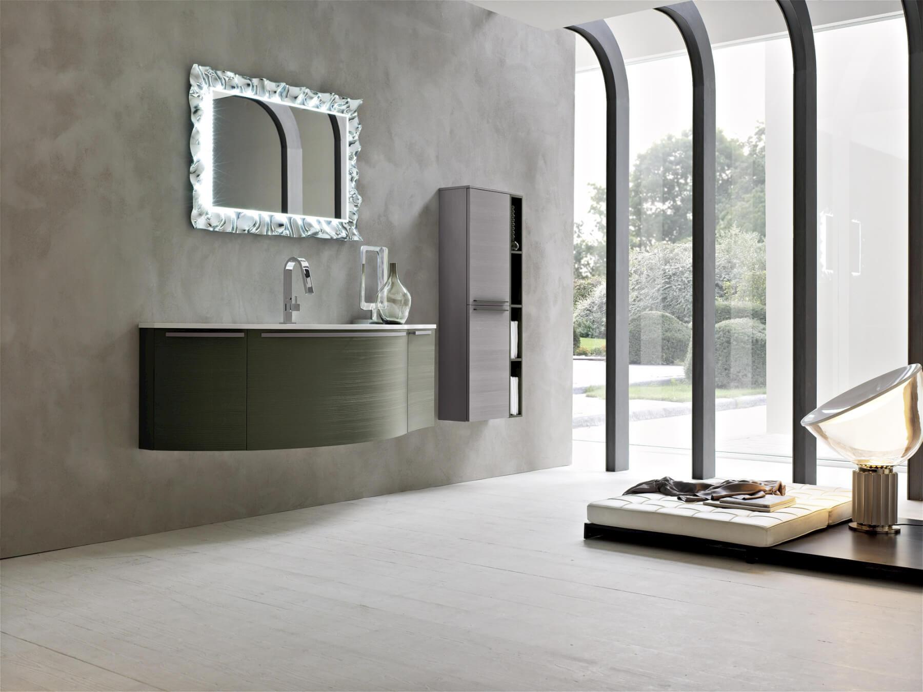 Piano Lavabo In Corian tondo legno rovere verde specchiera cornice argento piano