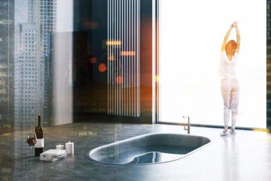 Vasche da bagno moderne per ambienti piccoli stile e comfort - incassata a pavimento